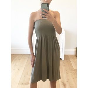 INDIO Strapless Olive Eco Seamless Tube Dress
